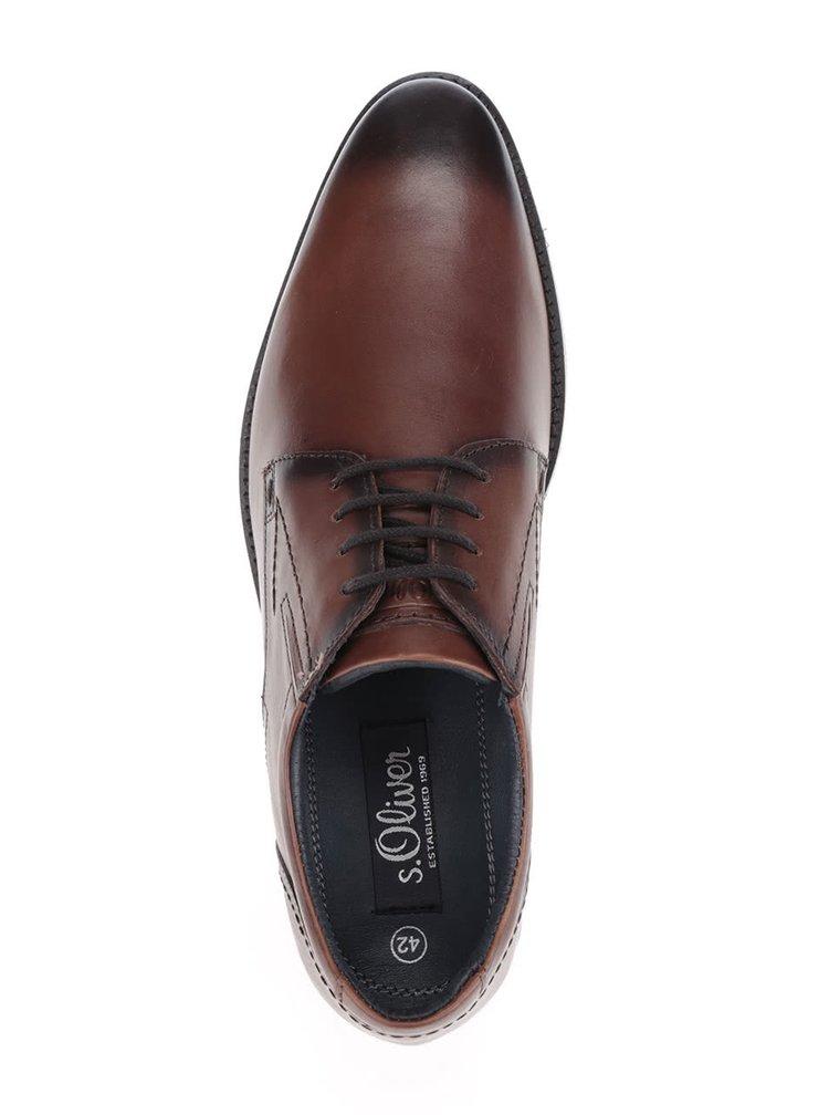 Pantofi maro din piele s.Oliver pentru bărbați