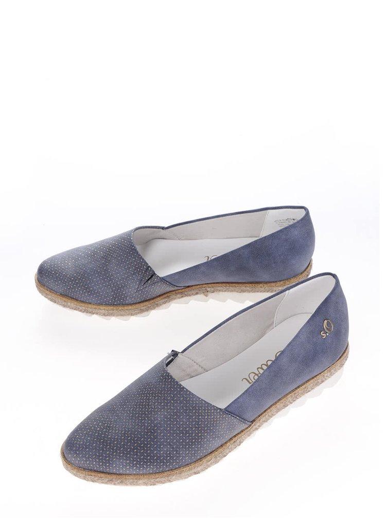 Modré dámské vzorované espadrilky s.Oliver