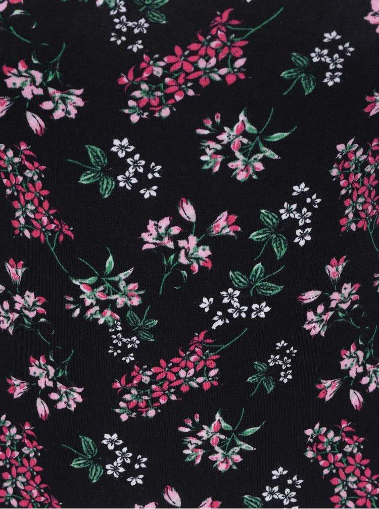 Černé květované tílko s úzkými ramínky TALLY WEiJL