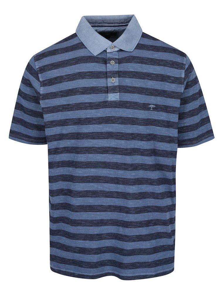 Tricou polo gri & albastru Fynch-Hatton din bumbac cu model în dungi și logo