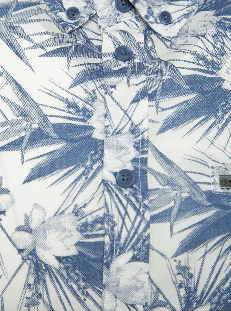 Cămașă crem&albastru Blend cu mâneci scurte și imprimeu floral
