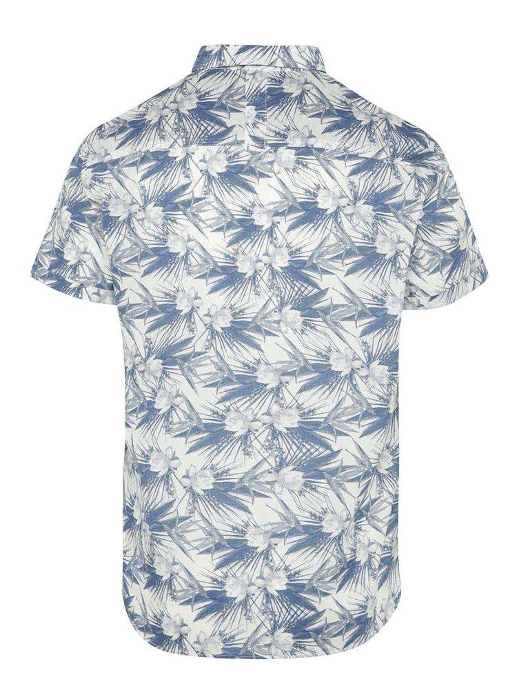 Camasa crem&albastru Blend cu maneci scurte si imprimeu floral