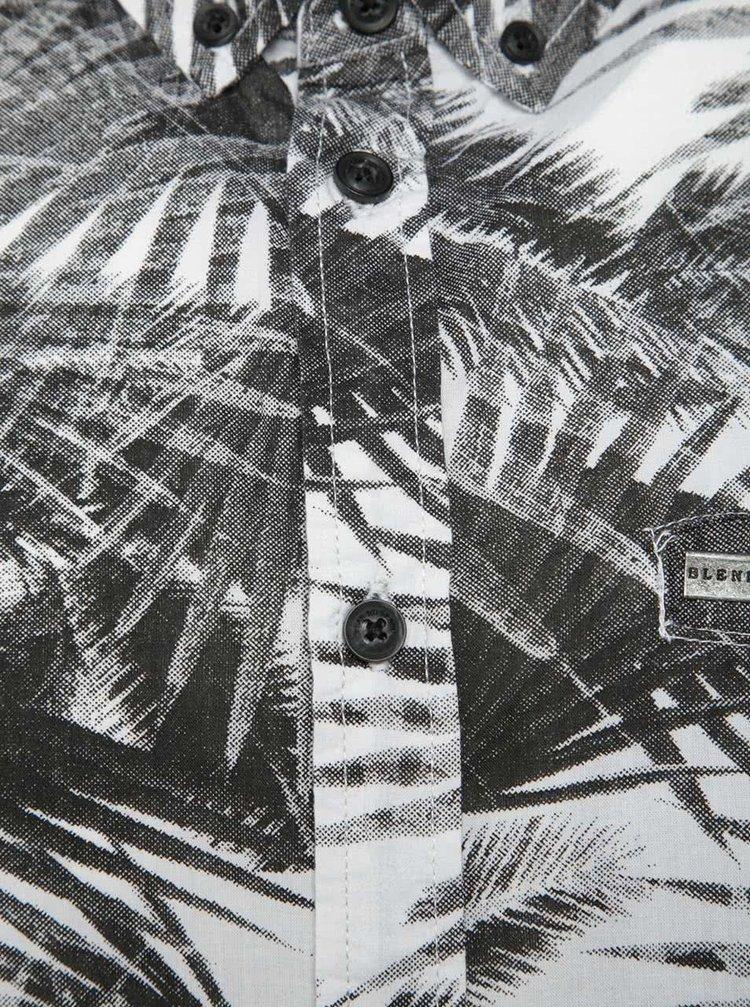 Camasa crem&negru Blend cu maneci scurte si imprimeu tropical
