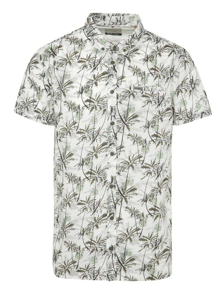 Camasa alb&kaki Blend cu maneci scurte si imprimeu tropical