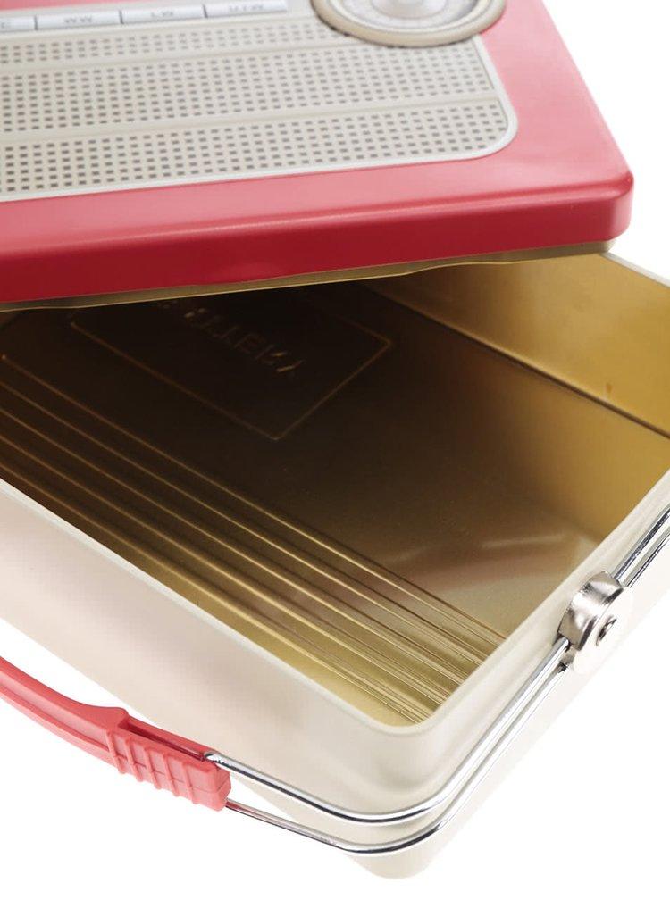 Béžovo-čerevný plechový box na jídlo ve tvaru rádia Kikkerland