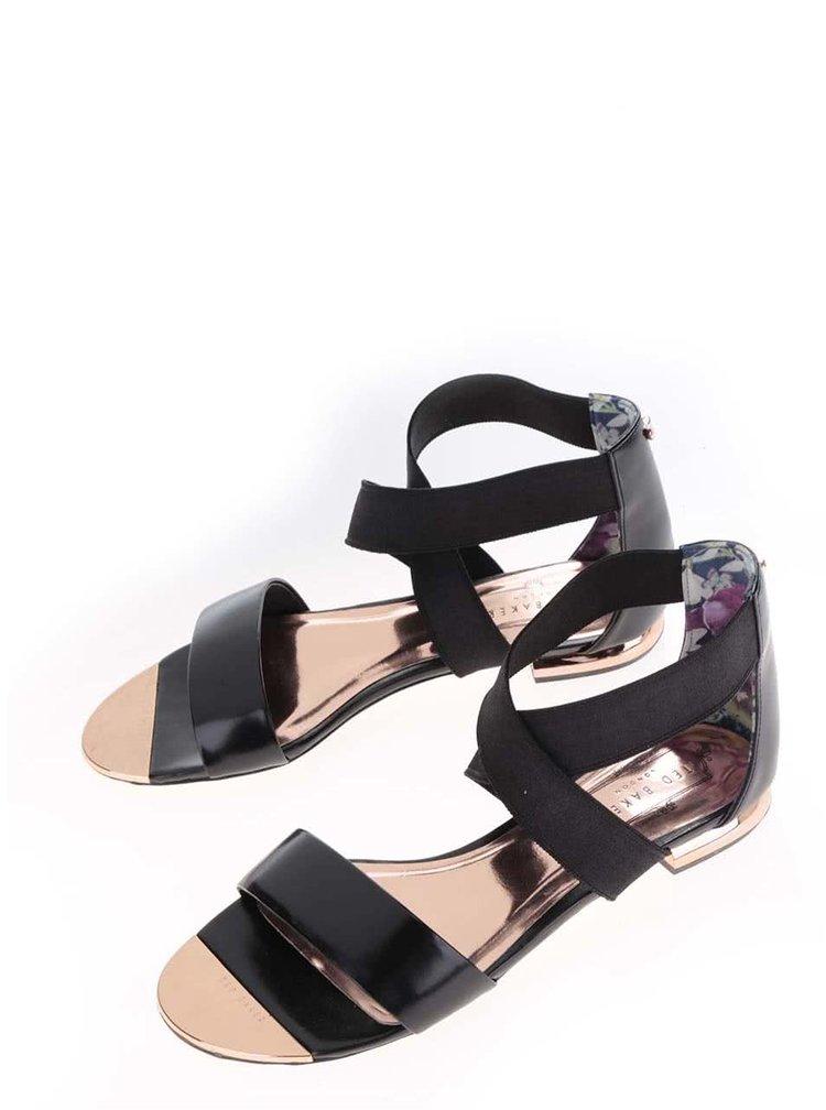 Sandale negre din piele Ted Baker Laana cu barete elastice