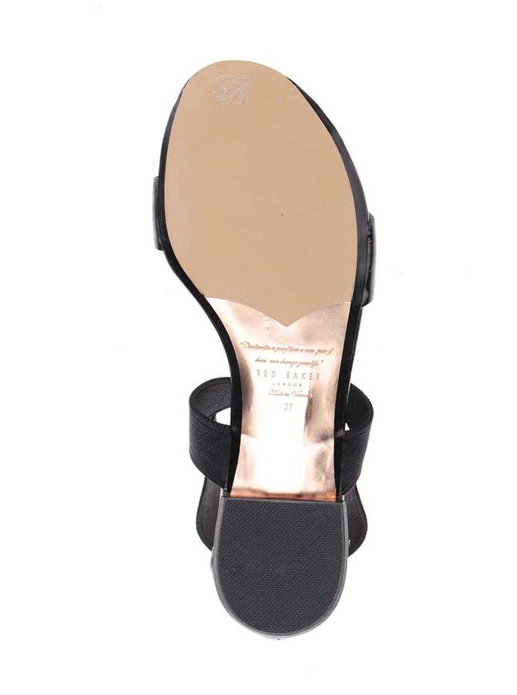 Černé lesklépáskové kožené sandály Ted Baker Laana