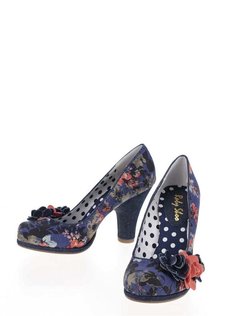 Pantofi albaștri cu toc Ruby Shoo Eva cu toc masiv