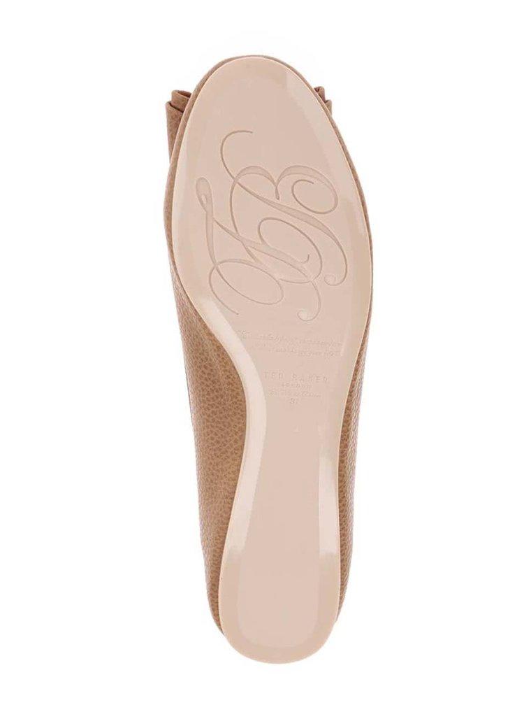 Hnědé baleríny s detailem ve zlaté barvě Ted Baker