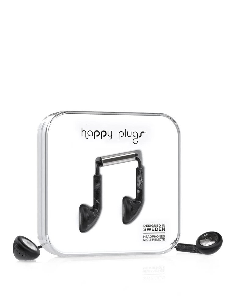 Casti earbud negre Happy Plugs