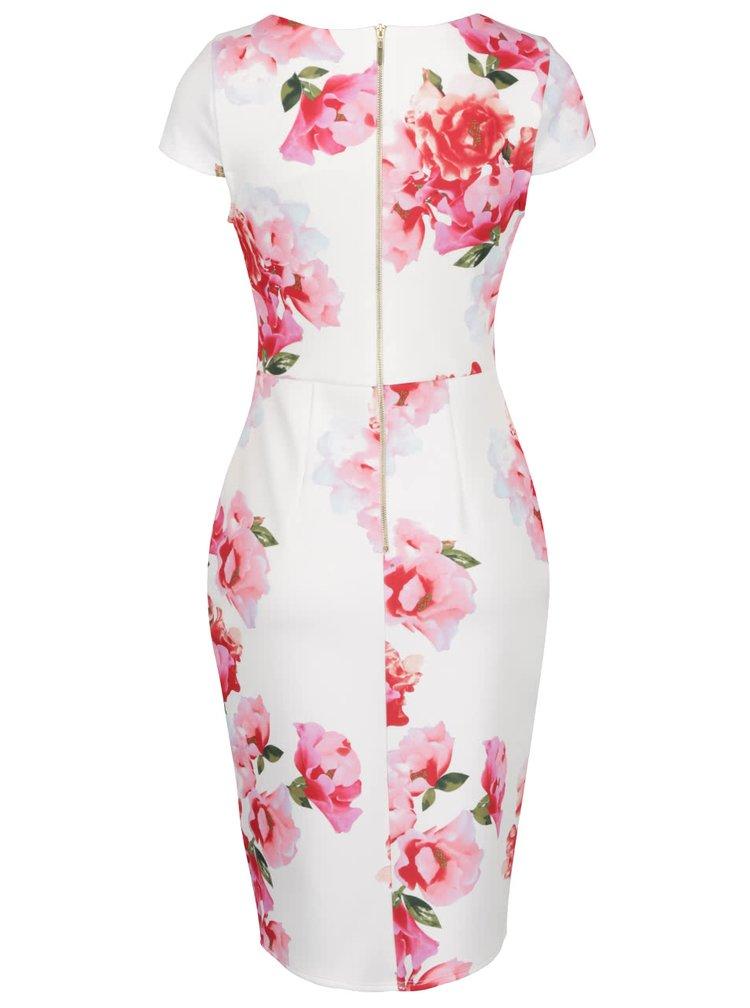 Krémové květované pouzdrové šaty Dorothy Perkins