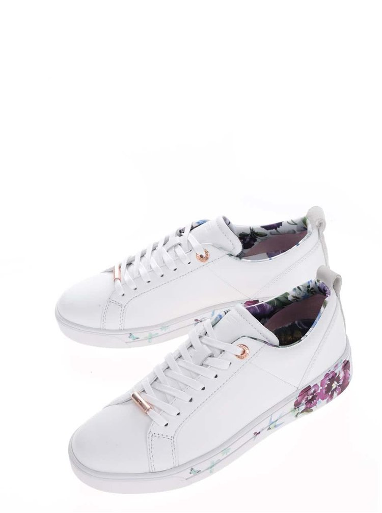 Pantofi sport albi din piele Ted Baker Barrica cu detalii florale