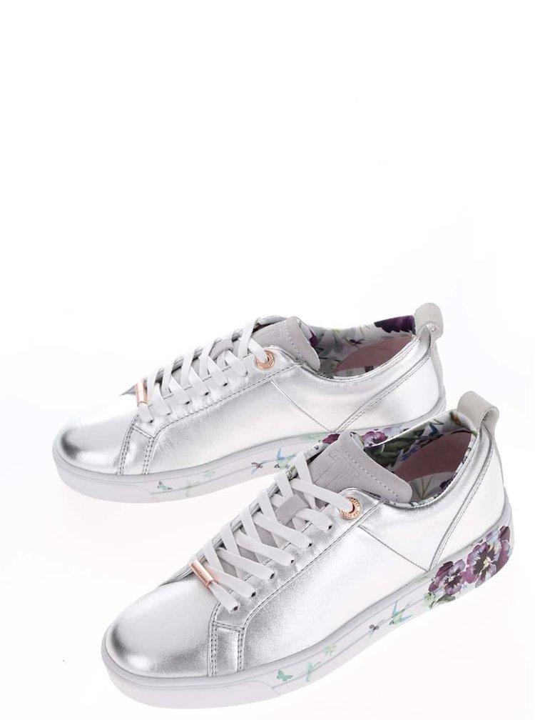 Kožené tenisky ve stříbrné barvě s květovaným potiskem Ted Baker Barrica