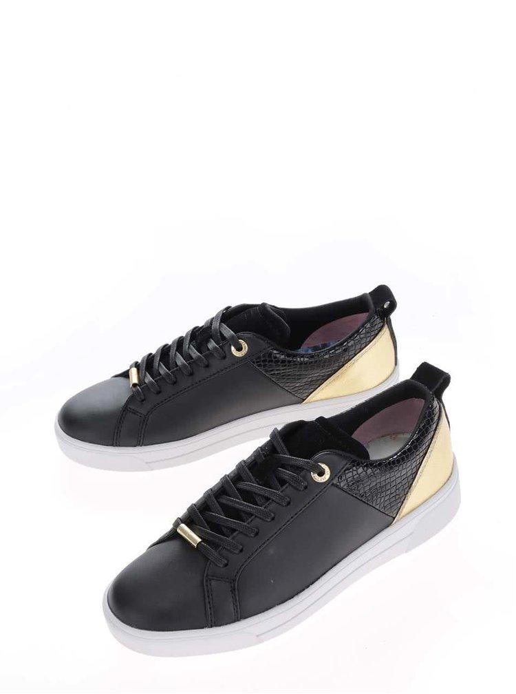 Pantofi sport negri din piele Ted Baker Kulei cu detaliu auriu