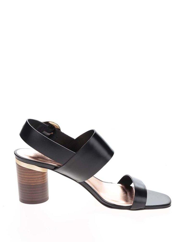 Černé kožené sandály na kulatém podpatku Ted Baker