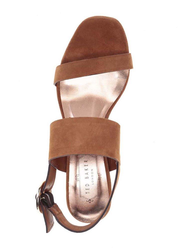 Sandale maro din piele intoarsa Ted Baker cu toc masiv