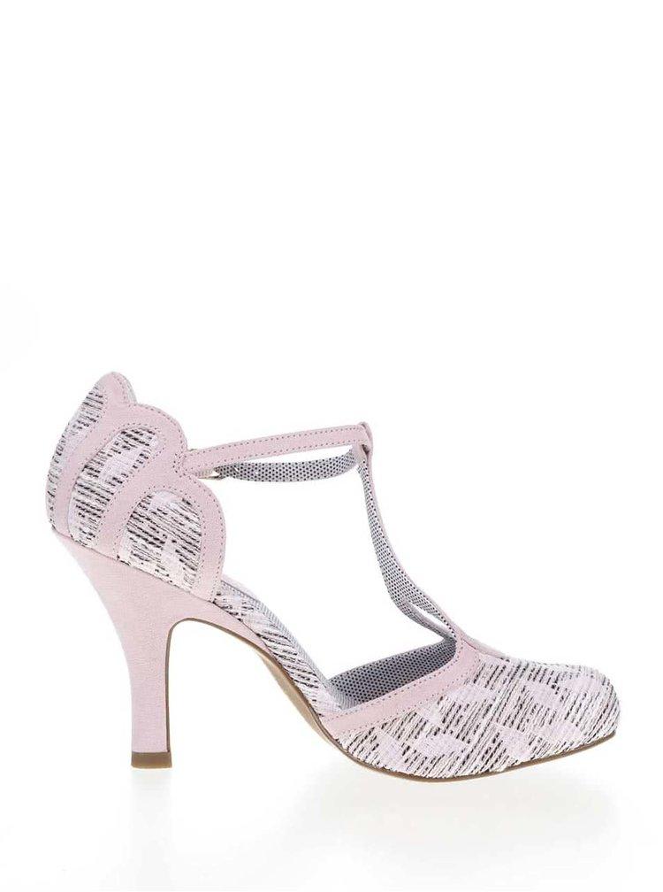 Pantofi roz cu toc Ruby Shoo Polly cu detalii din piele intoarsa