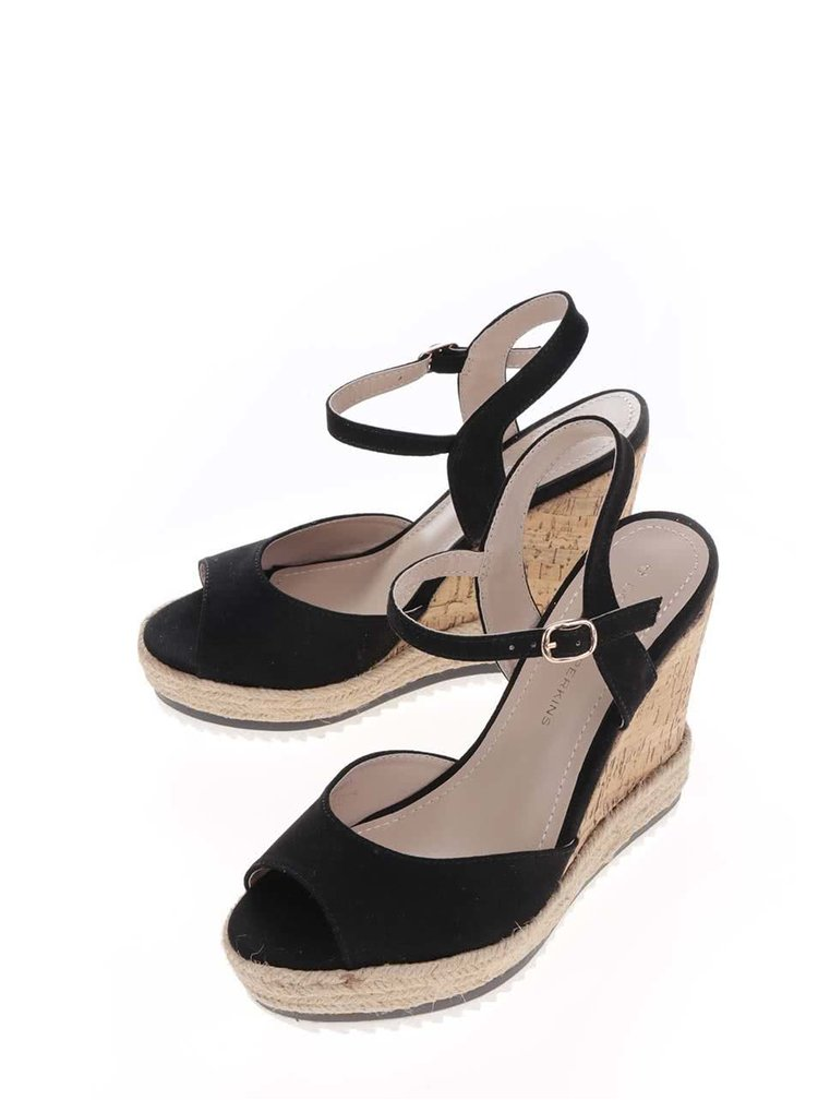 Černé sandály na klínku Dorothy Perkins