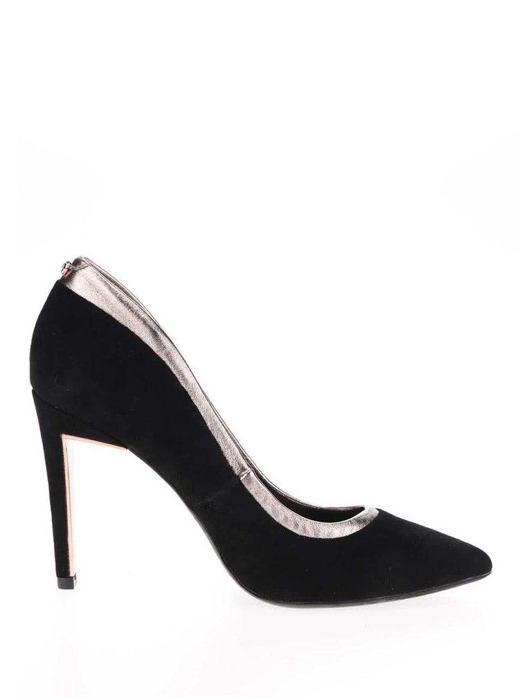 Pantofi negri stiletto Ted Baker Sayu din piele intoarsa