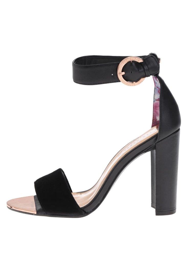 Černé kožené sandálky s přezkou Ted Baker