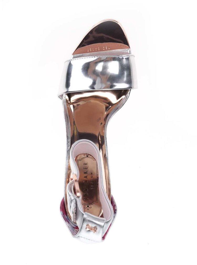 Sandale argintii din piele Ted Baker cu toc masiv și câlcâi acoperit