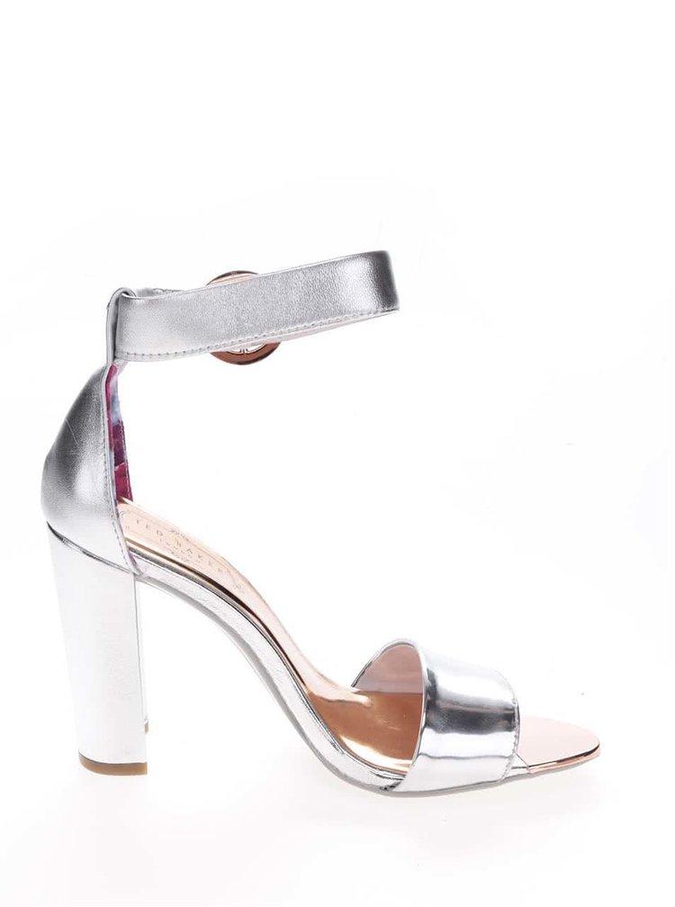 Kožené sandálky na podpätku v striebornej farbe Ted Baker