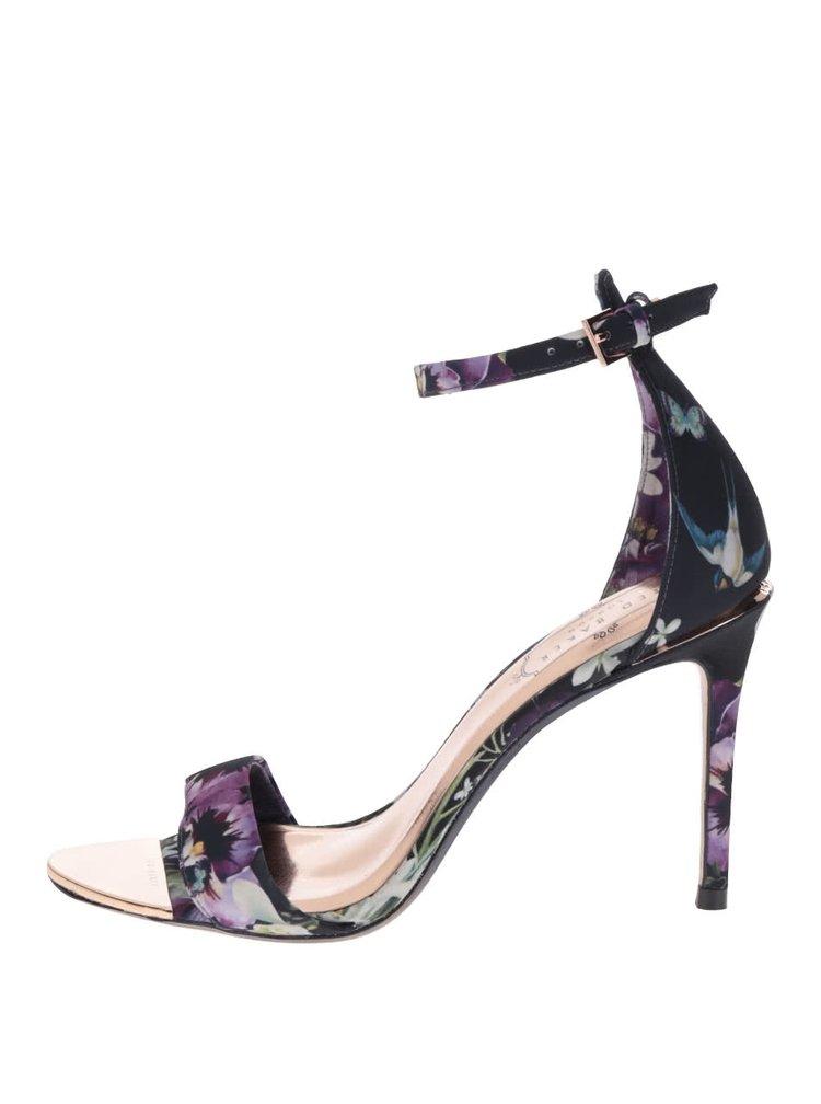 Sandale bleumarin Ted Baker cu model floral si calcai acoperit
