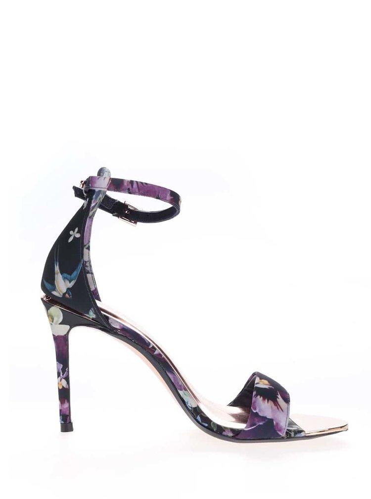 Sandale bleumarin Ted Baker cu model floral și câlcâi acoperit