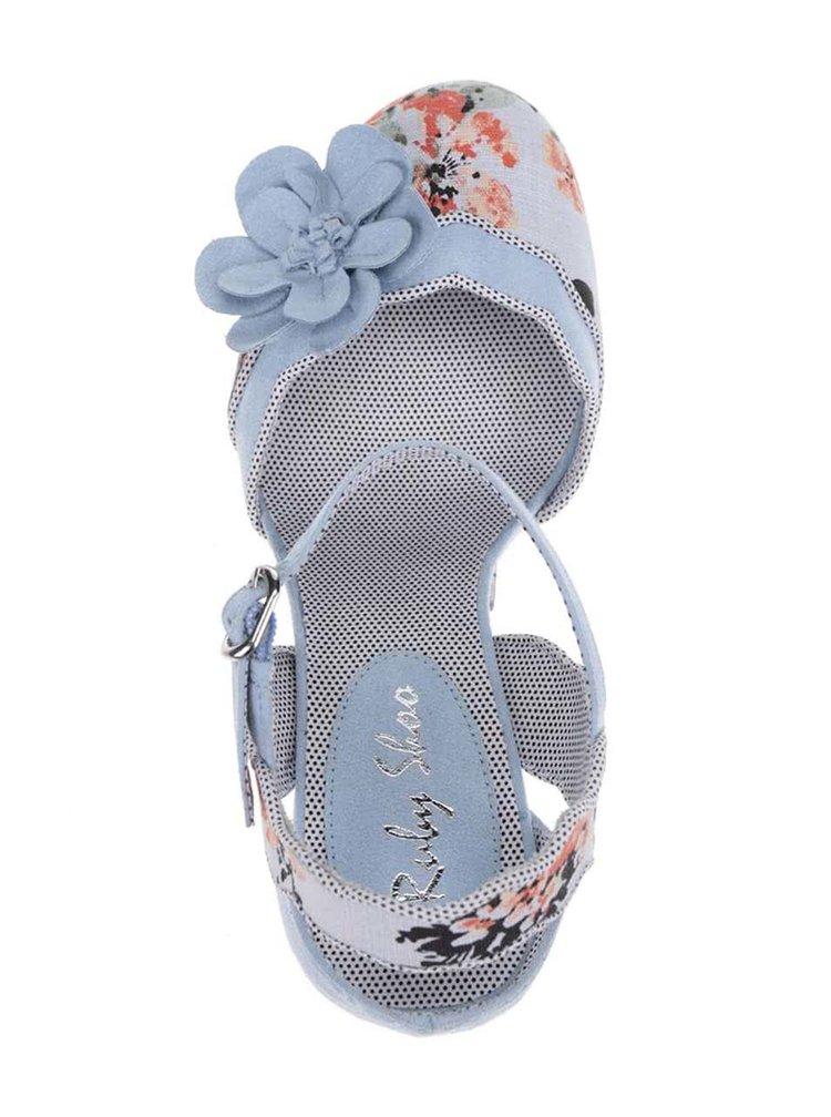 Světle modré květované lodičky Ruby Shoo Heidi