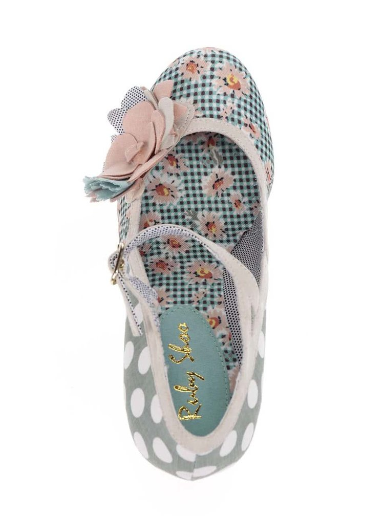Pantofi verde mentă cu toc Ruby Shoo Dee cu imprimeu floral
