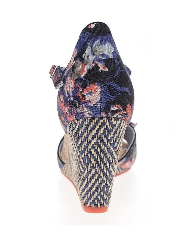 Sandale albastre cu platforma Ruby Shoo Molly cu imprimeu floral