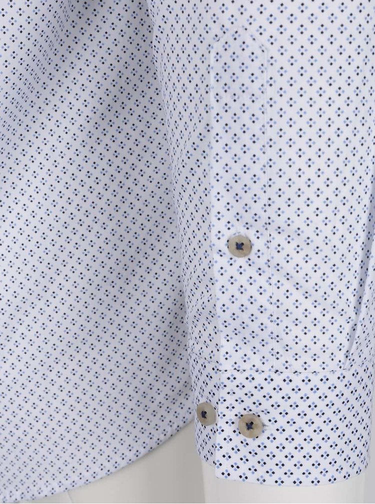 Camasa alba Bertoni Malte din bumbac cu model