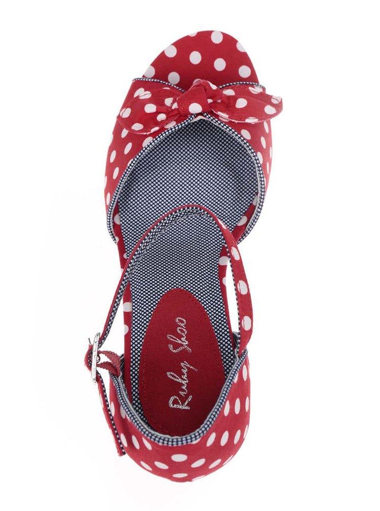 Červené puntíkované sandálky na klínku Ruby Shoo Molly
