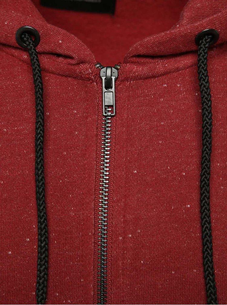 Hanorac roșu cărămiziu ONLY & SONS Fiske din bumbac cu model discret