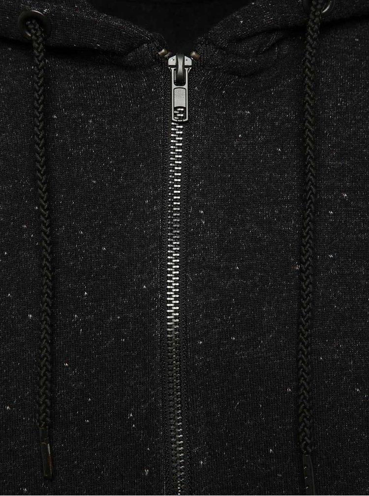 Tmavě šedá žíhaná mikina na zip Only & Sons Fiske