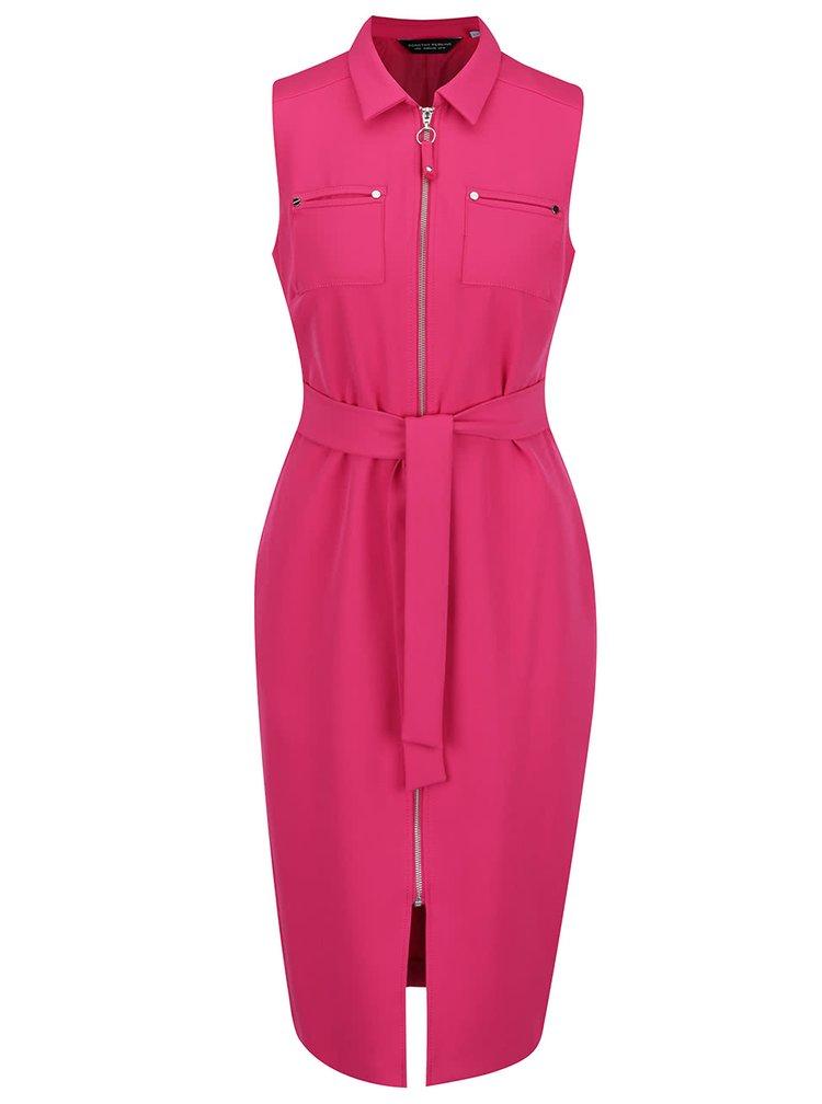 Růžové šaty na zip Dorothy Perkins