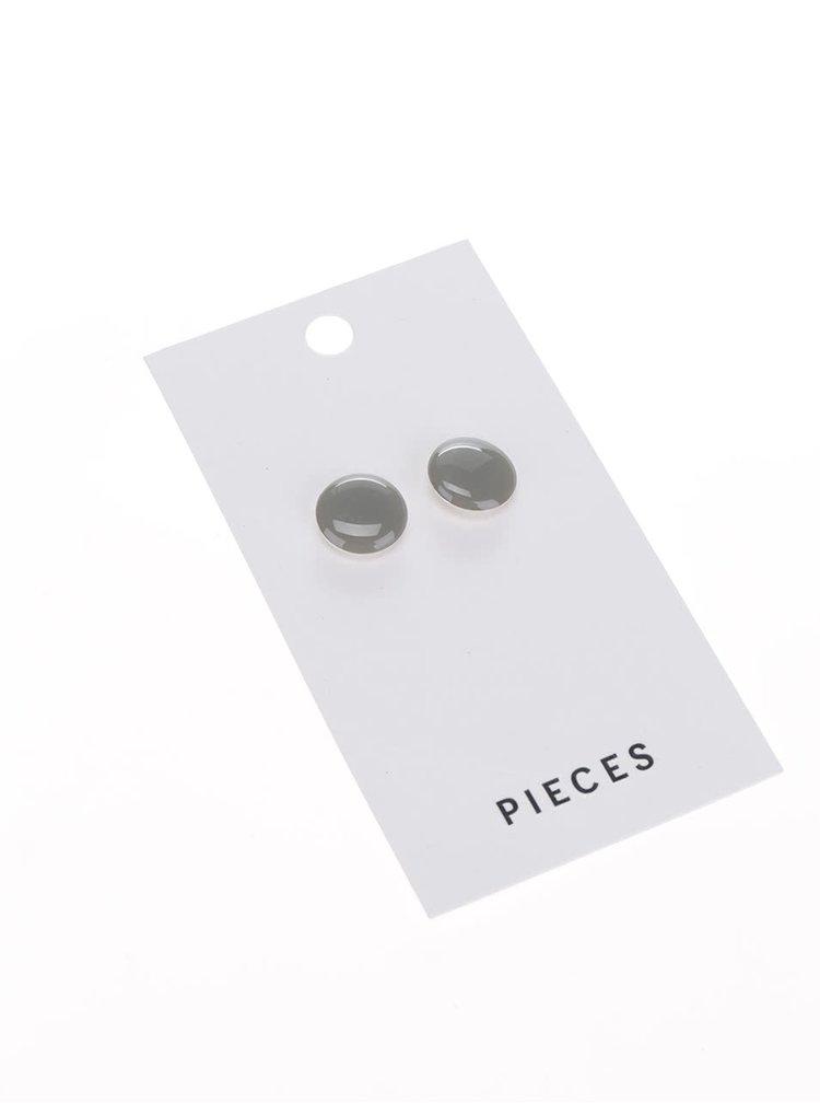Šedé náušnice Pieces Miebe