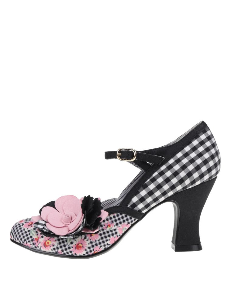 Pantofi cu toc roz&negri Ruby Shoo Dee cu model în carouri