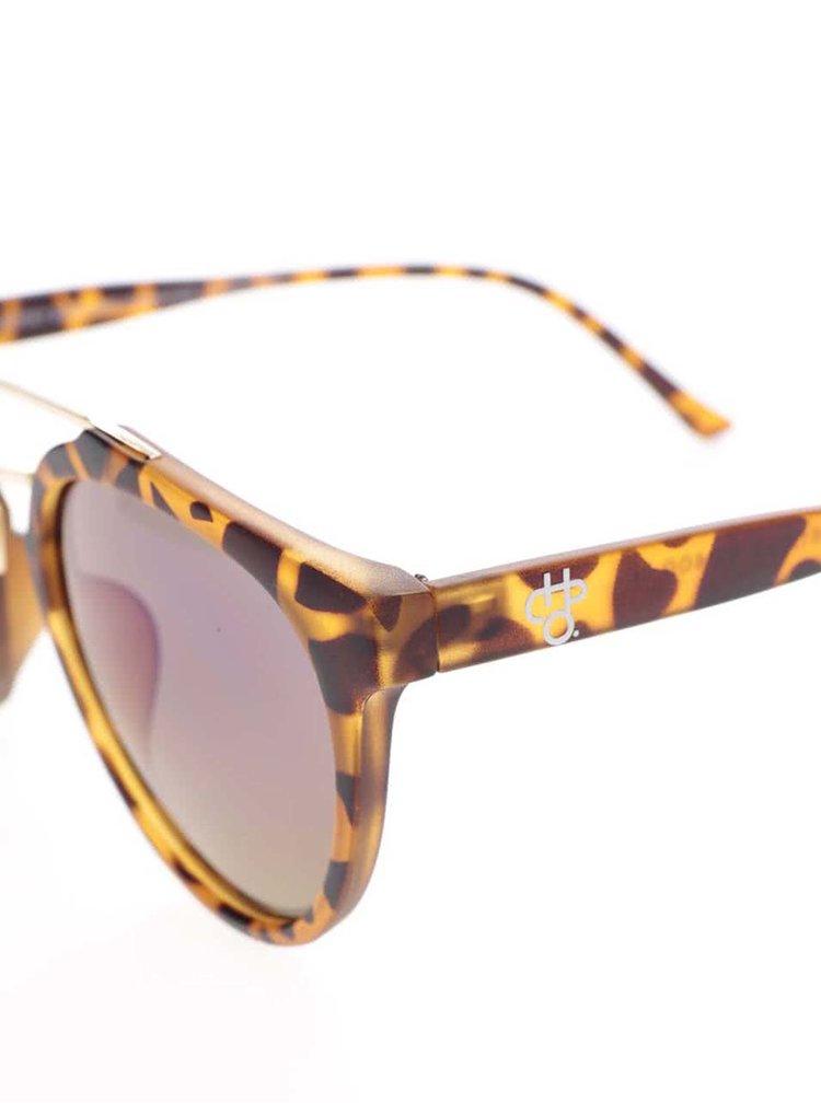 Hnědé vzorované unisex sluneční brýle s detaily ve zlaté barvě CHPO Copenhagen