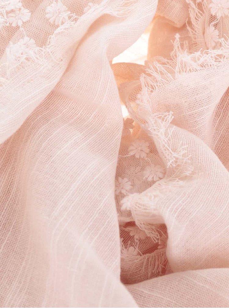 Esarfa roz Pieces Lira din bumbac