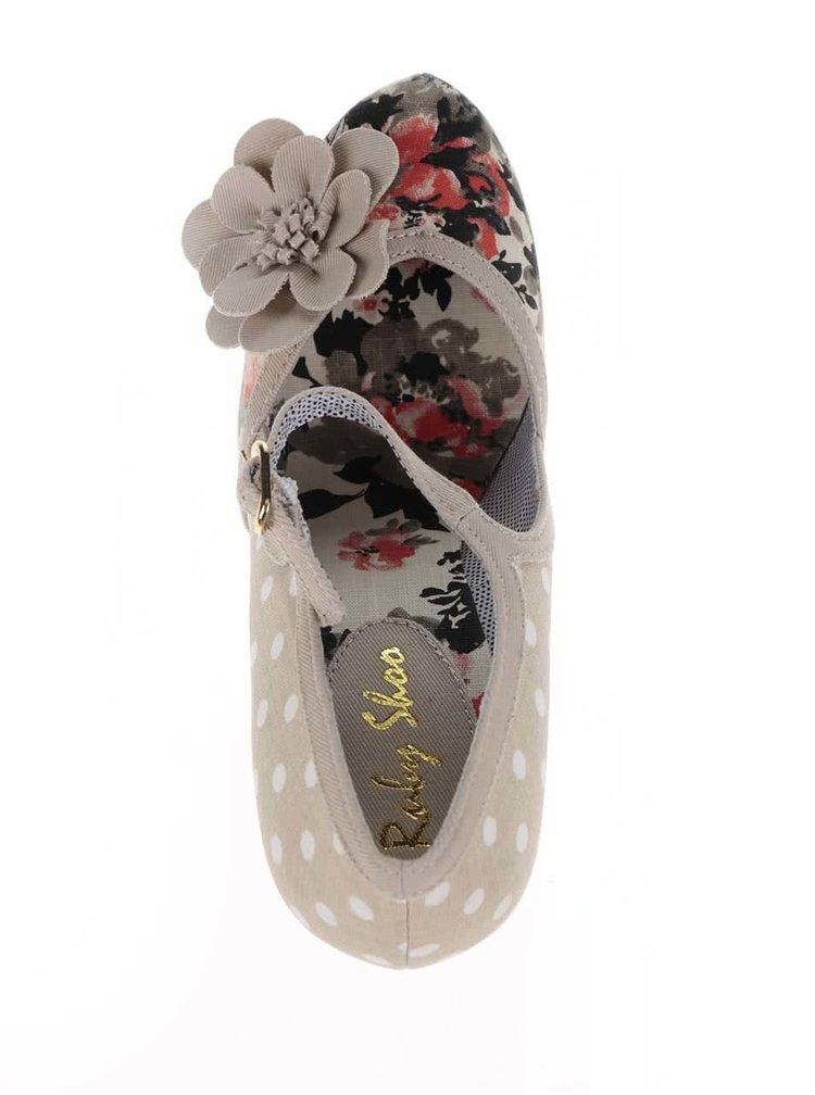 Béžové vzorované lodičky s ozdobnou květinou Ruby Shoo Tanya