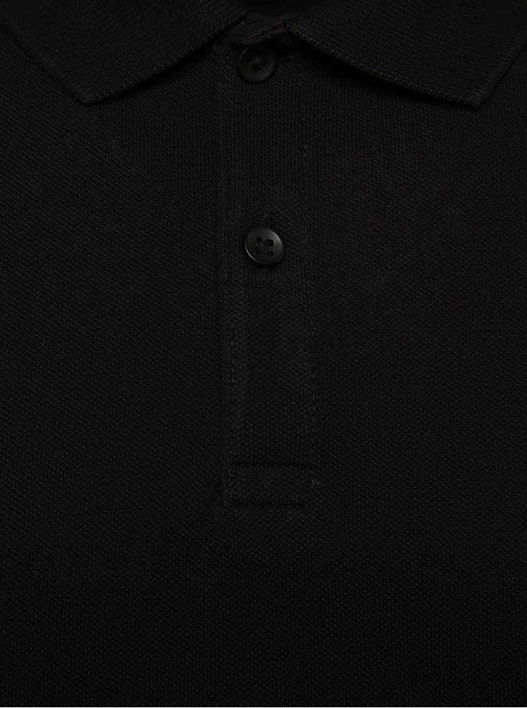 Černé polo triko s krátkým rukávem Jack & Jones Belfast