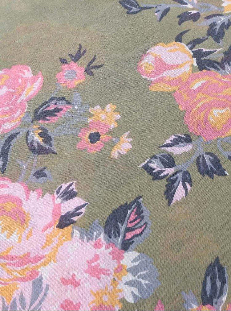 Esarfa verde Pieces Siella cu imprimeu floral