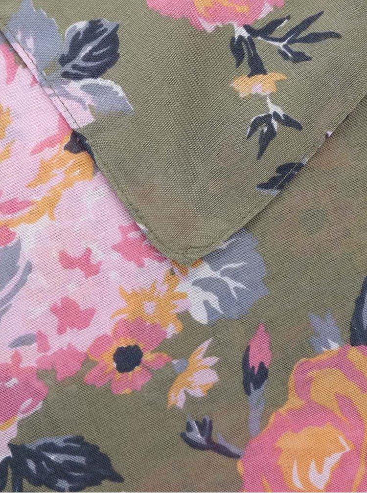 Eșarfă verde Pieces Siella cu imprimeu floral