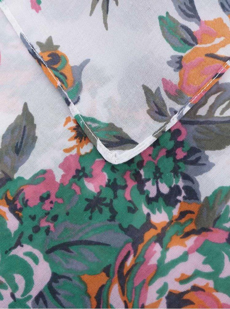 Eșarfă albă Pieces Siella cu imprimeu floral