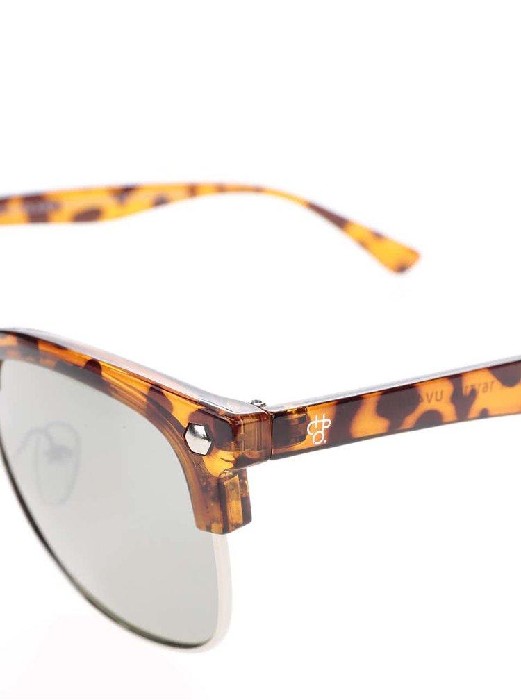 Hnědé vzorované unisex sluneční brýle CHPO Jesper