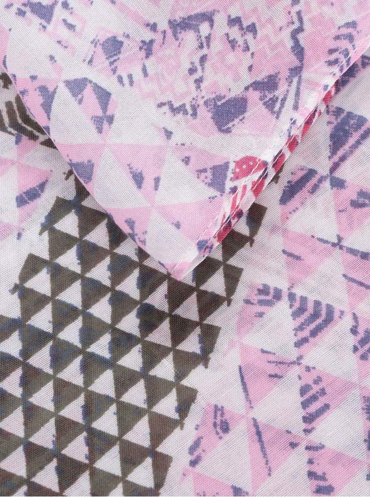 Esarfa roz&crem Pieces Soon cu model geometric