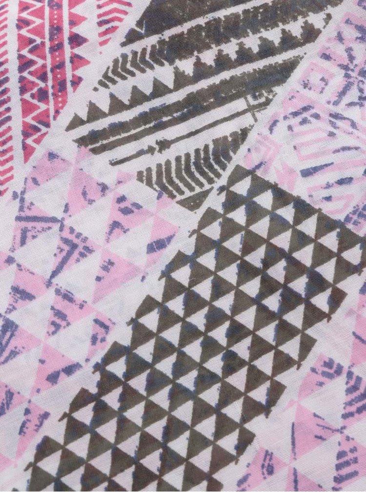Eșarfă roz&crem Pieces Soon cu model geometric