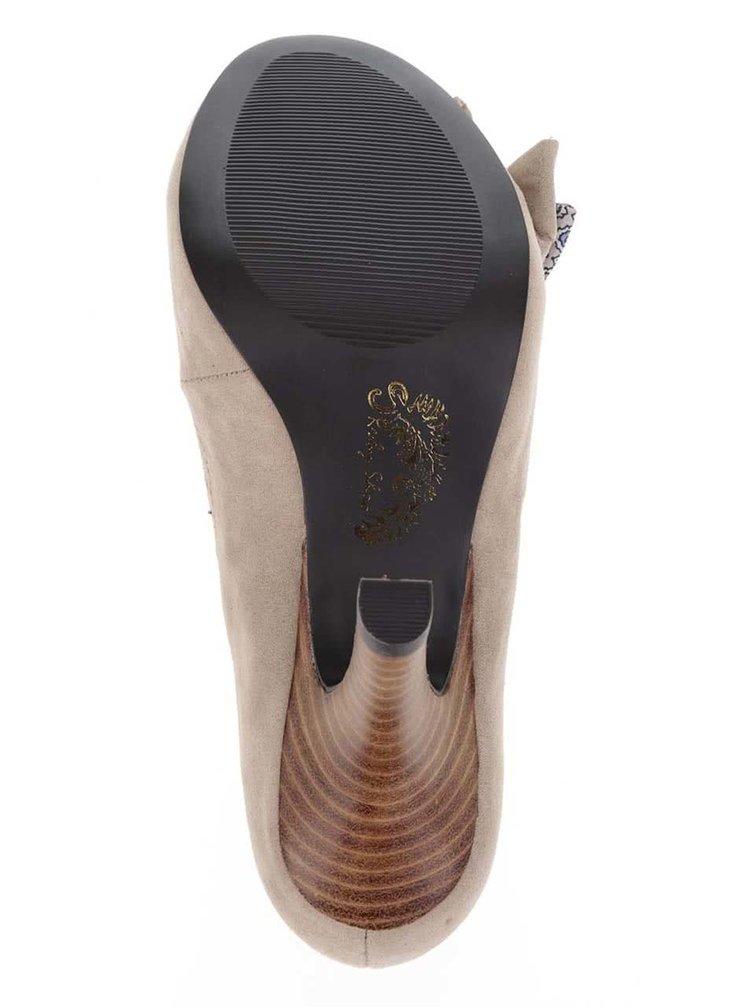 Pantofi bej cu toc Ruby Shoo Georgia cu funda decorativa