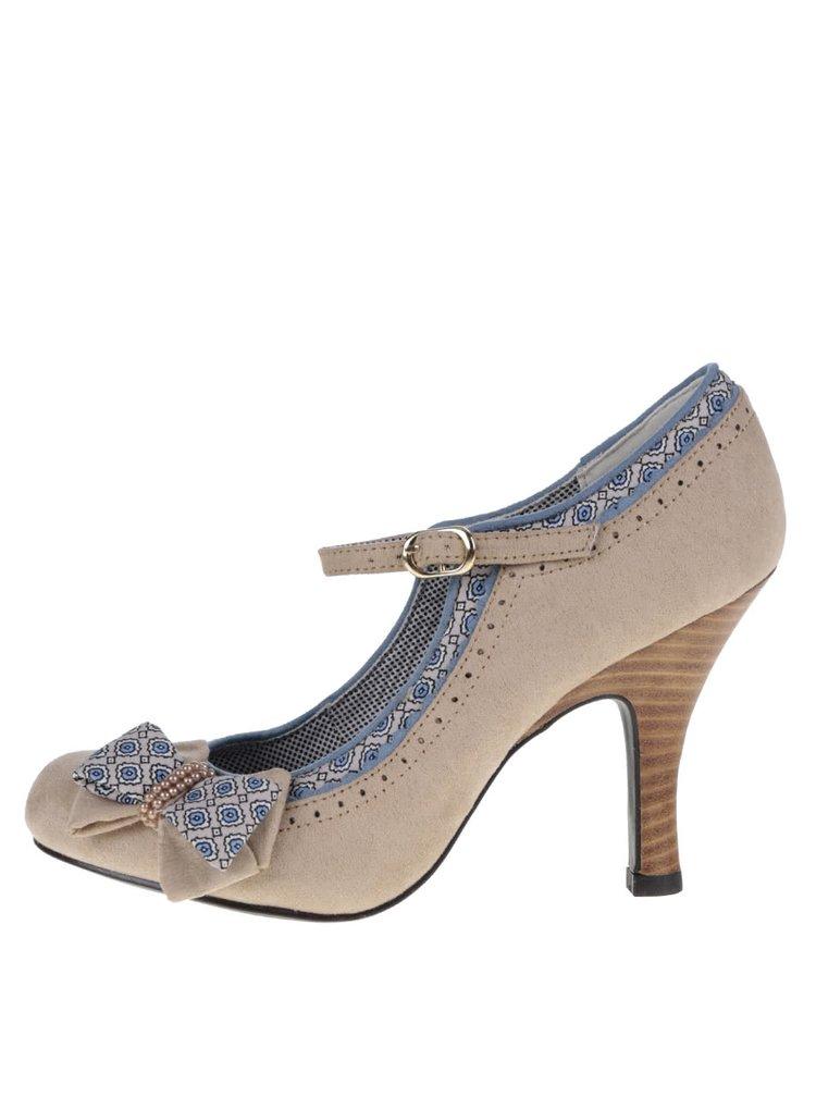 Pantofi bej cu toc Ruby Shoo Georgia cu fundă decorativă
